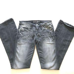 Frankie B. Distressed Grey Jeans, Flare leg